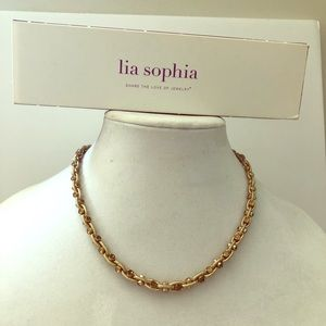 NWT Gold and Crystal Necklace by Lia Sophia 💝